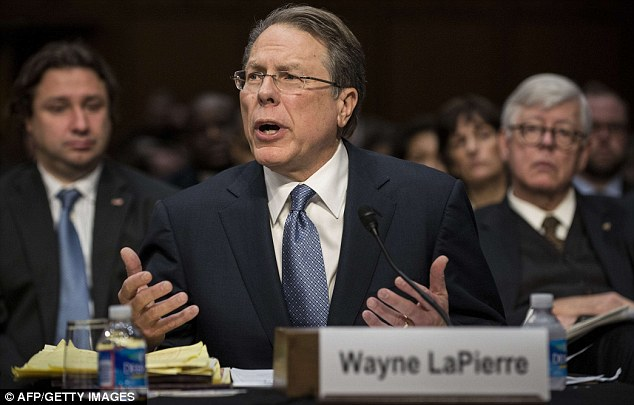 Heated: Wayne LaPierre, Chief Executive Officer of the NRA became a ferocious exchange when he said he must 'honestly and respectfully' disagree with stricter gun legislation