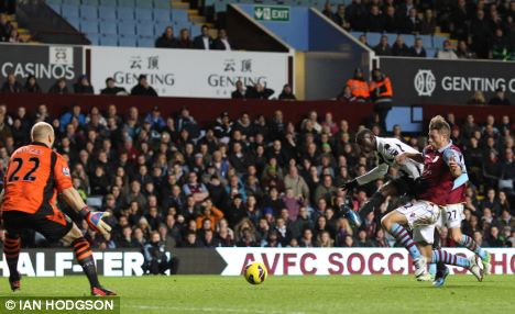 Back on track: Papiss Cisse (pictured) scores the first goal in the 2-1 win over Aston Villa, Newcastle's first win in five Premier League matches