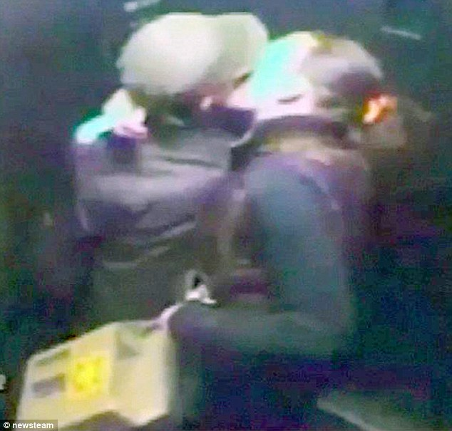 No remorse: The pair were caught on CCTV enjoying a passionate kiss just hours after killing Mr Sherratt