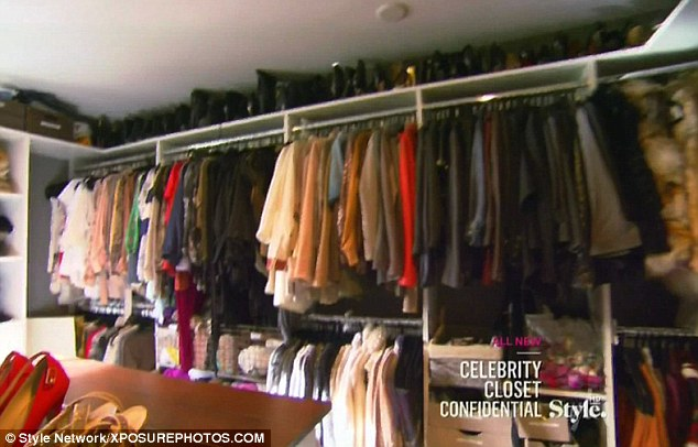 Extensive closet: The star showed off her rails and rails of clothes as well as her shoes and jewellery