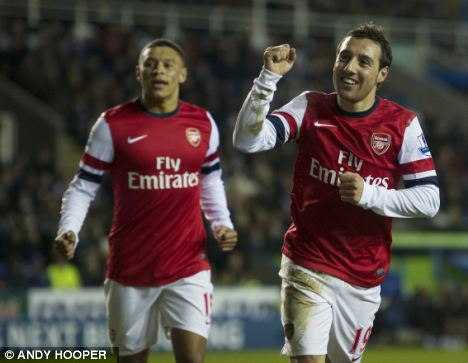 Maestro: Cazorla (right) has been one of the signings of the season, with a number of impressive displays in the Arsenal midfield