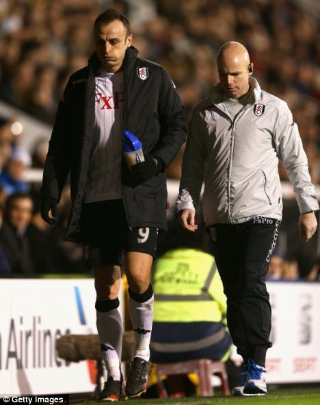 Out: Dimitar Berbatov (left) pulled a hamstring in the midweek clash with West Ham and is now unavailable for the match against his former club, Manchester Untied