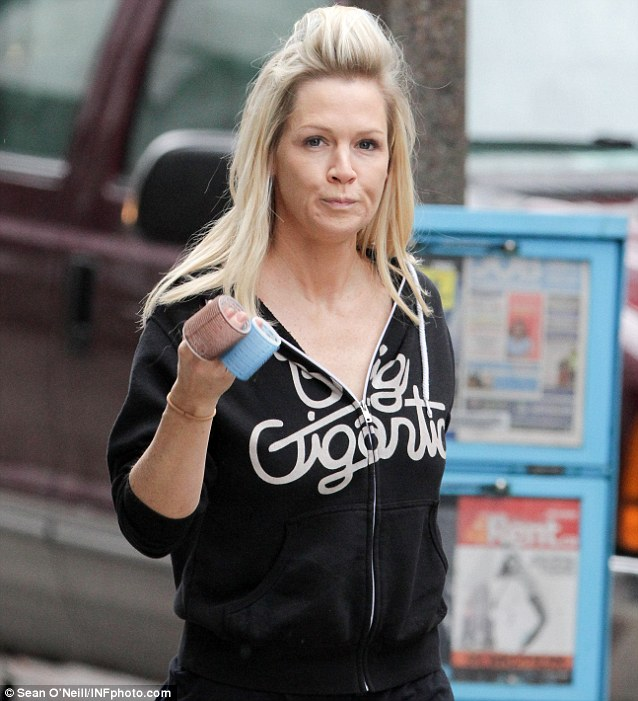 Huge fan: Jennie Garth wore a hooded top with the name of her boyfriend's band Big Gigantic on Wednesday