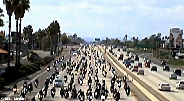 Armada: Between 300 and 400 bikers took 10 Freeway in West Covina, California, bringing regular mid-day traffic to a halt