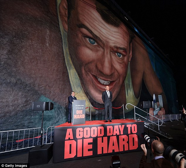 All its glory: Bruce will have no doubt been a pleased as punch when he saw the gigantic painting of himself