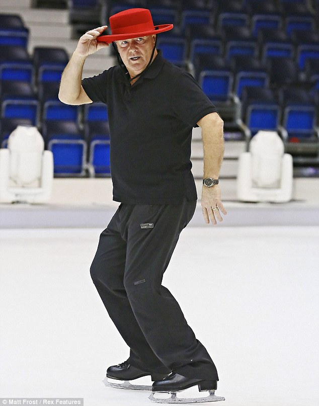 Getting serious: TV presenter Keith Chegwin rehearses for Dancing On Ice in a red flamenco hat