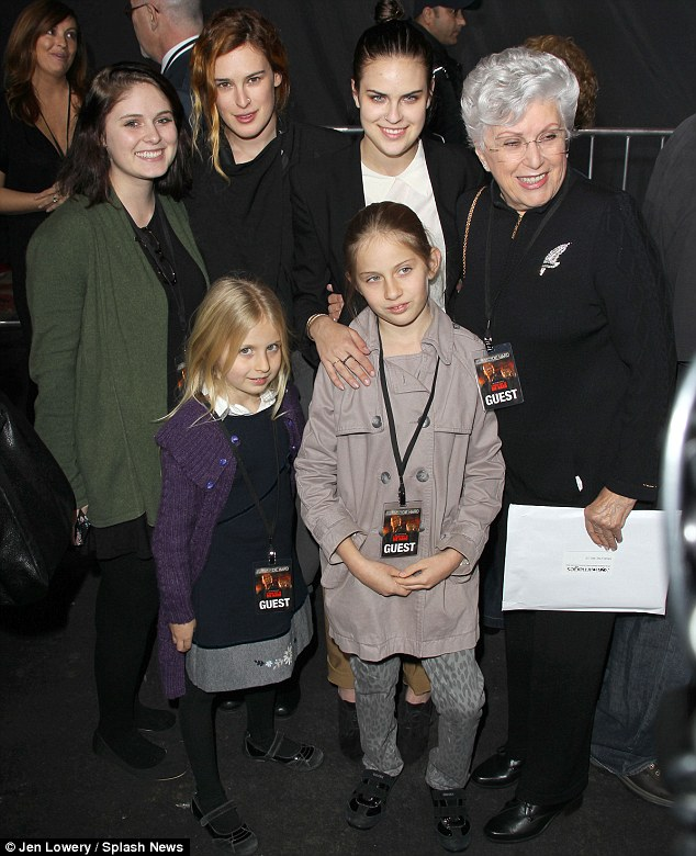 Family affair: Bruce's mother Marlene joined her granddaughters and some other members of the brood at the event