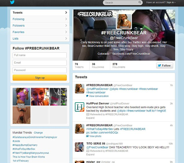The Twitter page @freecrunkbear that has gathered support for the suspended teacher