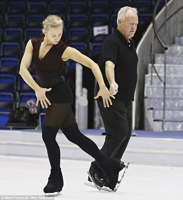 Going through his paces: Keith looks pensive as he rehearses with partner Olga Sharutenko