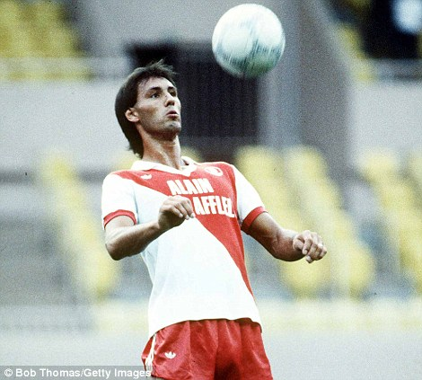 Across the Channel: Hateley shows his skills after signing for Monaco in 1987