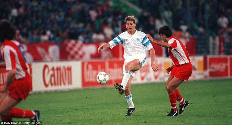 Superstar: Chris Waddle helped Marseille to three league titles during his three-year spell at the Stade Velodrome