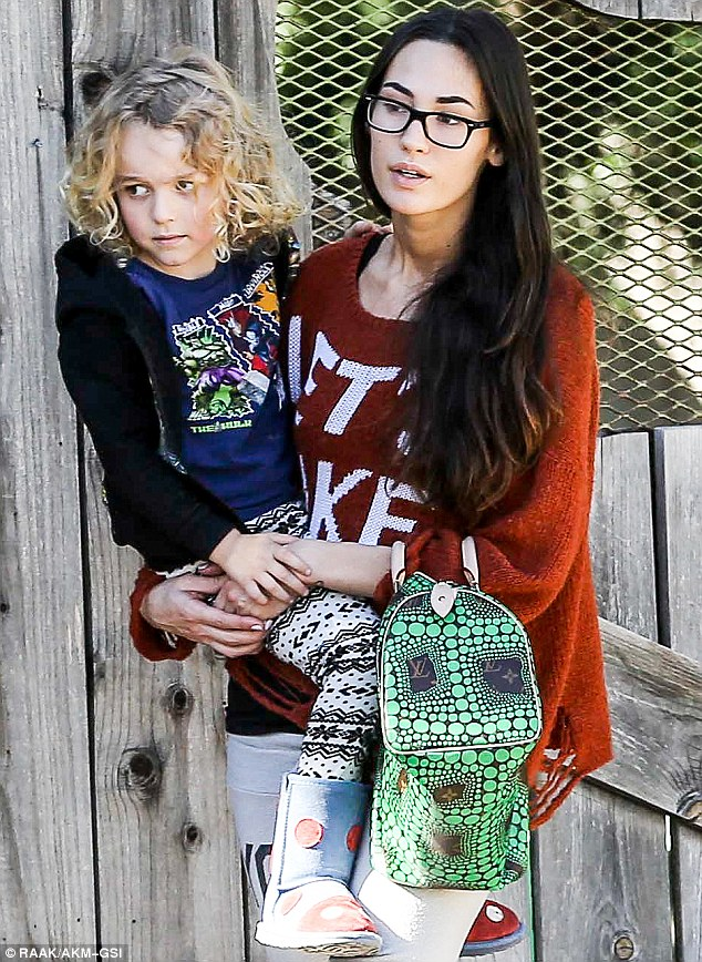 Playing stepmom: Pete Wentz's girlfriend Meagan Camper spent t he day with Ashlee's son Bronx in Brentwood