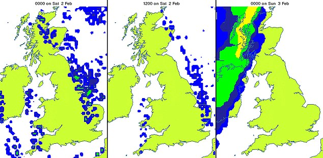 This radar map shows where snow and rain will fall across Britain this weekend
