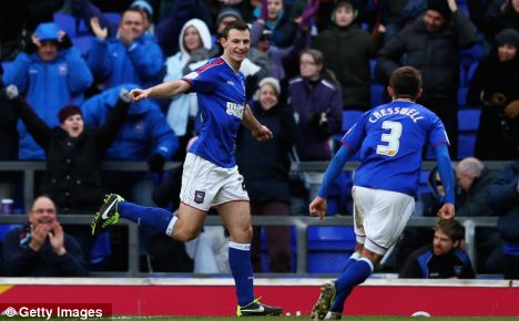 Brace: Tommy Smith (left) scored two of Ipswich's four goals in the demolition of Middlesbrough