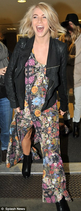 Pretty: The actress looked great in her flowing floral dress and black jacket