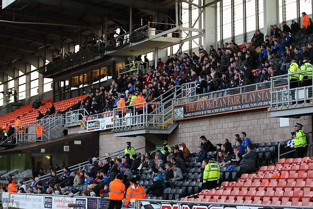 Sparsely attended: Just 365 Rangers fans avoided the boycott and attended the tie