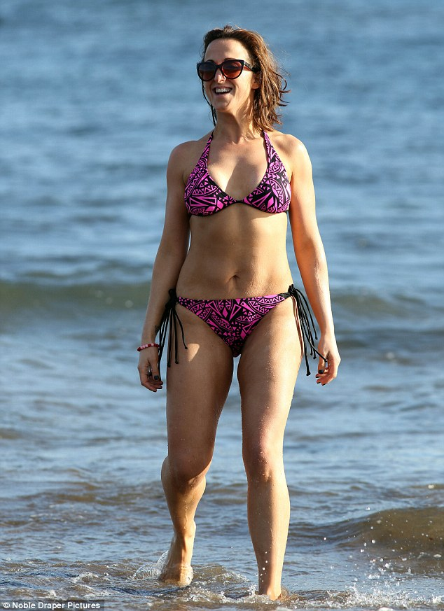 Happier now: Natalie Cassidy, pictured here in Tenerife recently, has a much healthier attitude to weight loss now