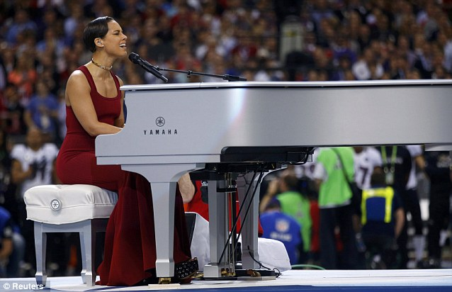 All new: Alicia Keys impressed fans with her emotional all-new version of the Star Spangled Banner at the Super Bowl in New Orleans, Louisiana on Sunday