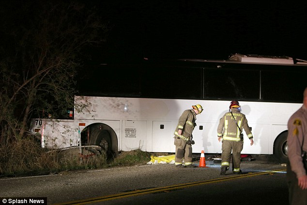 Tragedy: The bus eventually came to a rest lying sideways across both lanes State Route 38 close to the town of Forest Falls