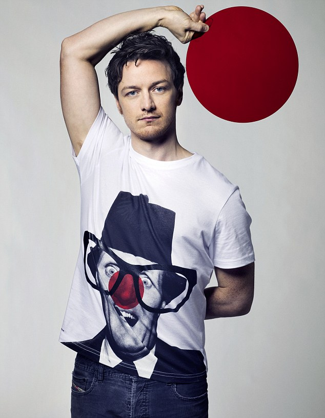 Seeing red: James McAvoy smoulders as he casually rests his arm on his head as part of the promotion for Comic Relief