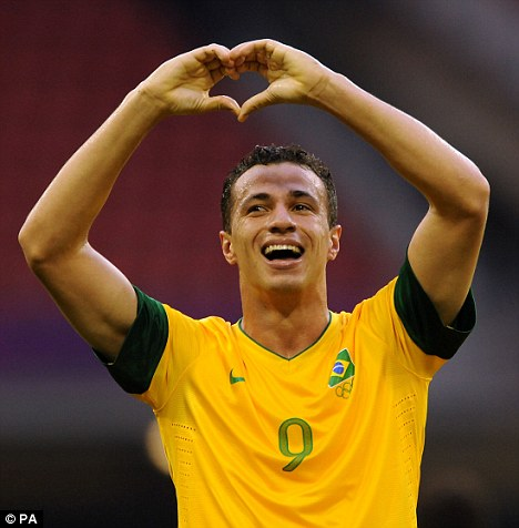 Devoted: Leandro Damiao has committed his future to Internacional, despite strong transfer window interest from Tottenham