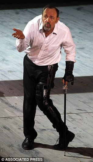 Hollywood star Kevin Spacey performs during the rehearsal of Richard III: These days loyal Ricardians battle to repair Richard's reputation