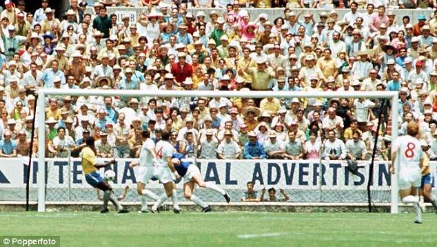 Improbable: This picture shows the distance Banks scrambled across to get to Pele's header and push it wide of the goal