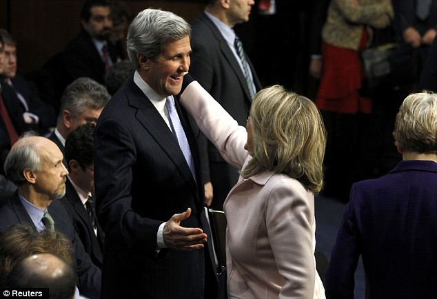 Taking over: Mrs Clinton testified in strong support of Mr Kerry during his Senate confirmation hearing
