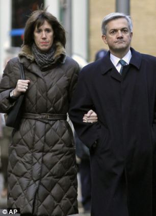 Affair: Chris Huhne, right, arrives at court for his hearing, with Carina Trimingham