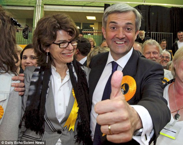 Fleeting victory: Chris Huhne and Vicky Pryce celebrate his 2010 election win, but Huhne is now contemplating a prison sentence for perverting the course of justice