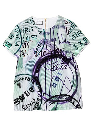 Mary Katrantzou's collaboration with hot denim label, Current / Elliot features stamp and banknote prints. T-shirt, £220, Dress, £510