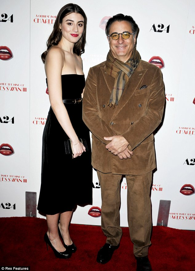 Daddy's girl: Dominik Garcia-Lorido posed up for snaps with her father Andy Garcia at the premiere of A Glimpse Inside the Mind of Charles Swan III