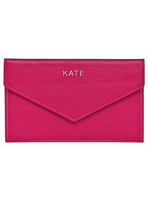 Personalised clutch envelopes, £80 (including embossing), Thomas Lyte, thomaslyte.com