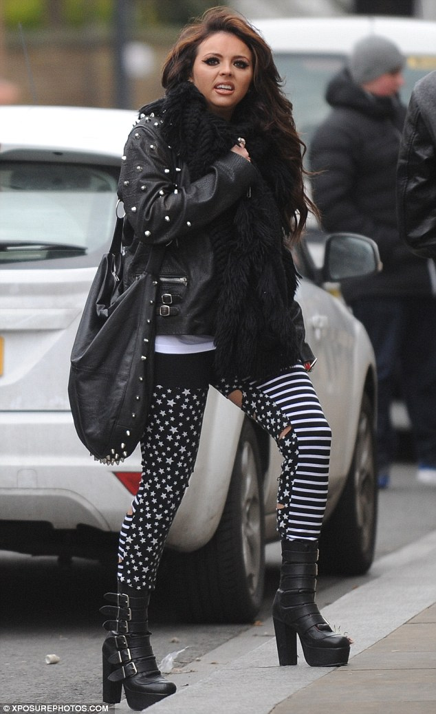 Grungy: Little Mix's Jesy Nelson showed off a punky edge to her style as she enjoyed a wander around Liverpool on Tuesday morning