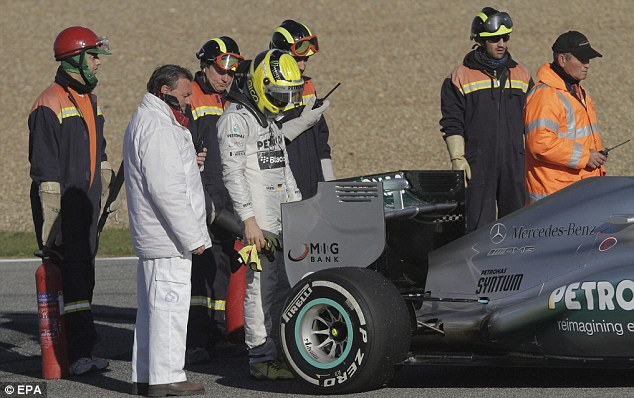 Time's up: Mercedes later confirmed that they would not run their new challenger for the remainder of the day