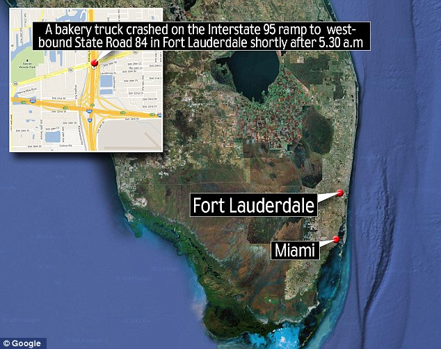 Location: The truck crashed on the Interstate 95 ramp to State Road 84 in Fort Lauderdale this morning