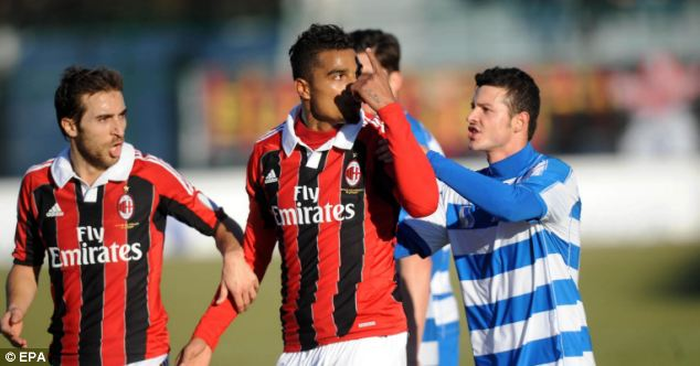 Abandoned: Kevin-Prince Boateng (centre) walked off the pitch in a friendly after suffering from racist abuse in a friendly