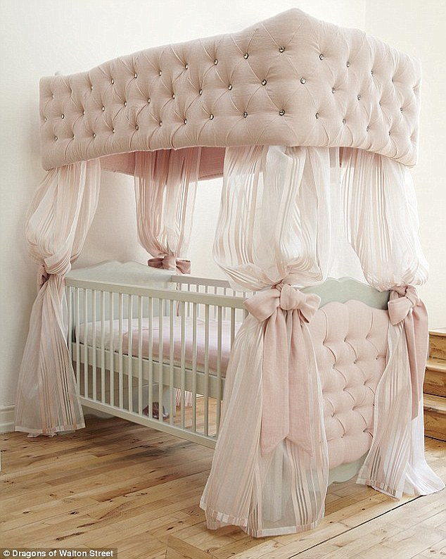 Fit for a Queen: Dragons of Walton Street, the high end nursery outfitters based in Knightsbridge, offer a four-poster 'Duchess cot'