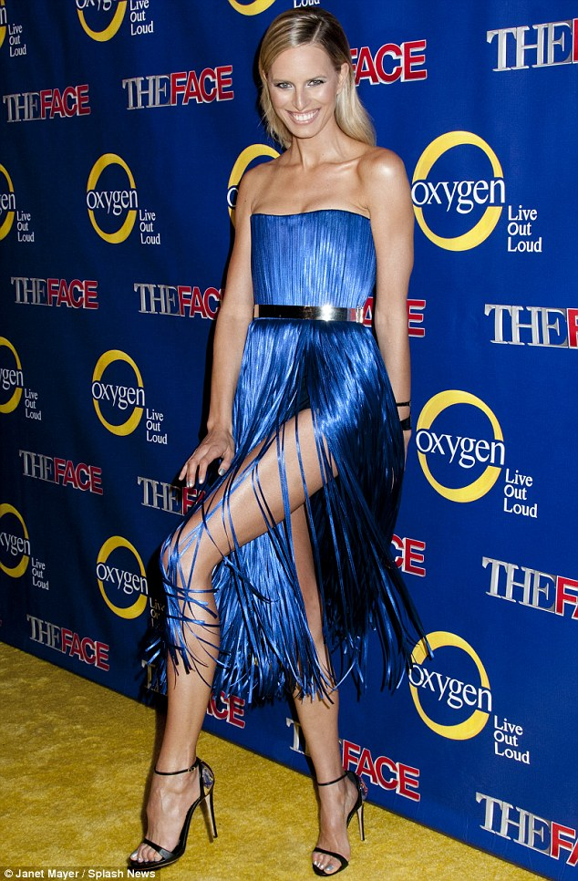 Dazzling: The 28-year-old made for an arresting sight in a striking blue dress as she attended the season premiere of new TV show The Face