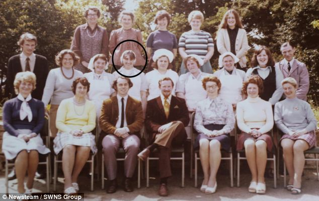 One face never changes in photographs of staff at St Luke's C.E.V.A Primary School in Duston, Northampton. Julie Barrick is circled in this 1968 picture