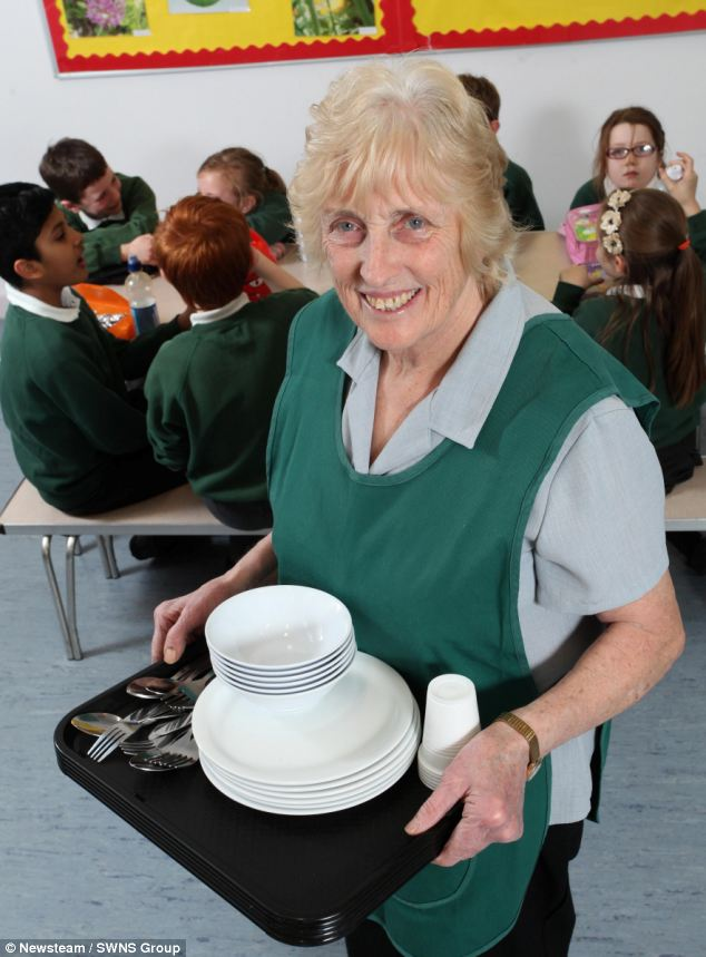 Julie Barrick, 75, has served up lunch at the same primary school for almost 48 years but says retirement is a long way off