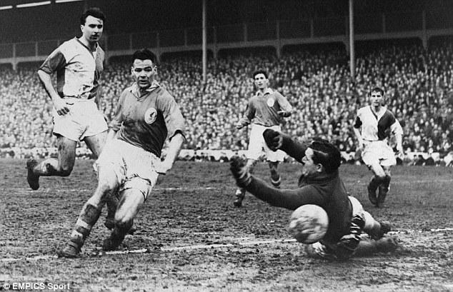 Goal! Billy Liddell (second left) scores for Liverpool against Blackburn Rovers in 1957