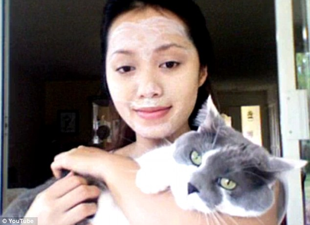 Budget beauty: Self-taught beauty expert Michelle Phan claims pasting kitty litter on your face will shrink pores, prevent acne breakouts and leave skin feeling 'extremely soft'