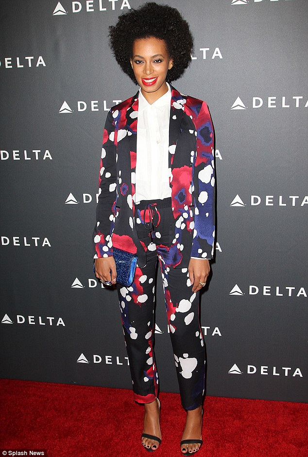 Going dotty: Solange Knowles looked stylish in a patterned trouser suit as she attended a Delta Airlines event celebrating the Los Angeles music industry on Thursday night