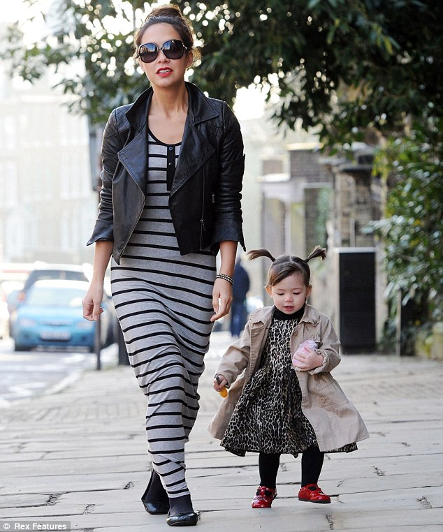 Mummy time: Myleene Klass stepped out on Friday with her daughters Ava and Hero in London