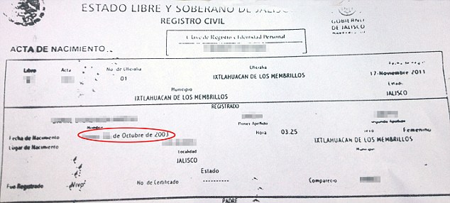 Doubts: Dafne's birth certificate is under scrutiny as it was only issued in 2011