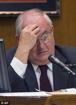Contrite: Former district attorney Ken Anderson choked back tears when he apologized to Michael Morton for robbing him of 25 years of his life after wrongfully convicting him of his wife's murder in 1987