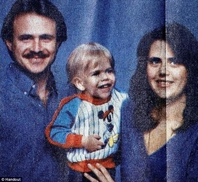 Happy family: Morton, left, was a married grocery store manager with a child when in 1987 his wife was beaten to death