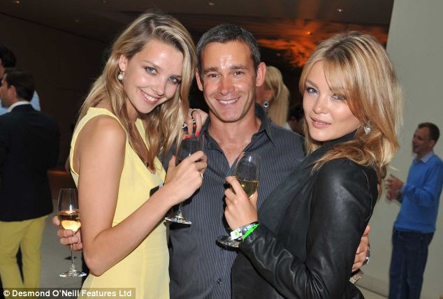'Reluctant playboy': Lea (pictured with two female friends) has found time to throw lavish parties since his divorce to wife Christina some years ago