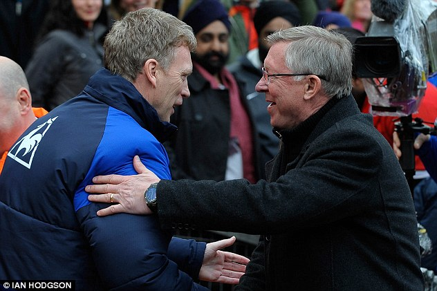 Mutual respect: David Moyes (left) and Sir Alex Ferguson shake hands before the thrilling 4-4 draw at Old Trafford last season